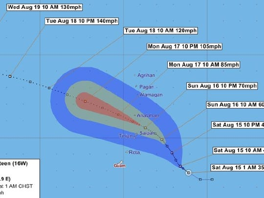 Forecast track for Tropical Depression issued at 1 a.m. Saturday, Aug. 15.