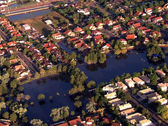 Flooding in Mesa aerial