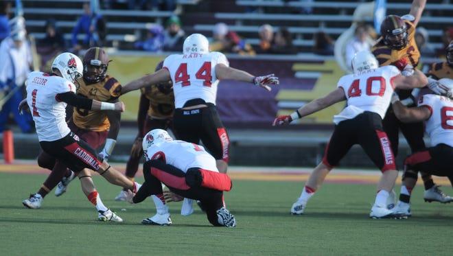 Ball State kicker Scott Secor (1) kicked a 55-yard game-winning kick in a 32-29 win against Central Michigan