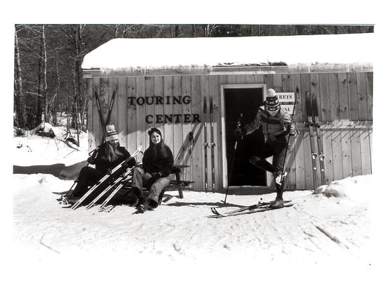Skiers get ready to head out on the Nordic and backcountry trails in this historic shot.