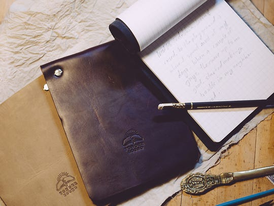 A leather jotter notebook from Yonder Bound is one