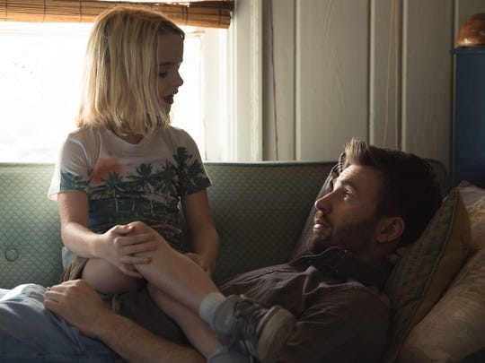 Mckenna Grace stars as child prodigy Mary Adler and Chris Evans is her Uncle Frank in 'Gifted.'