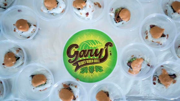 Dozens of bacon sushi samples at Gary's Dewey Beach Grill during last year's Bacon Fest.