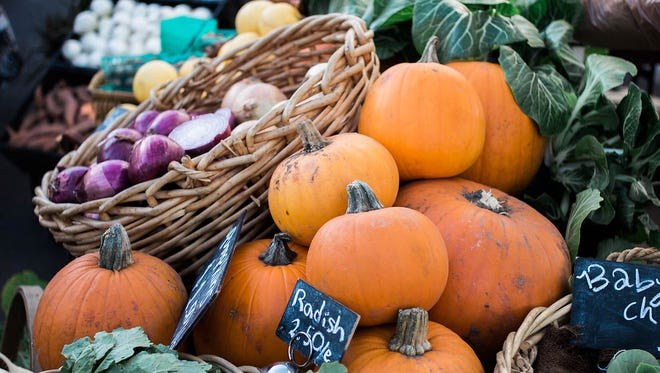 Fall produce at Crooked Sky Farms stand on Sept. 7, 2017.
