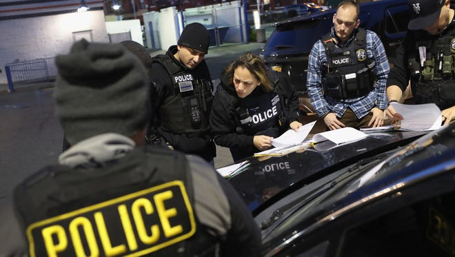 U.S. Immigration and Customs Enforcement (ICE) officers in New York City on April 11, 2018.
