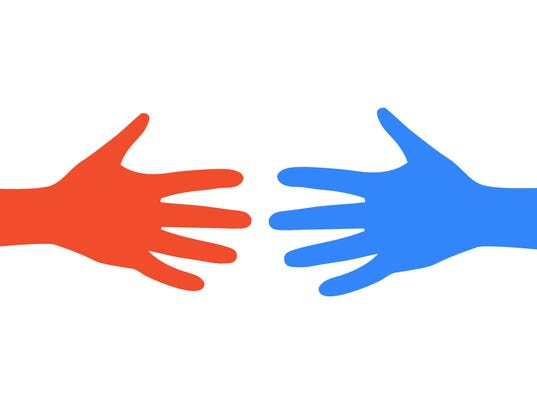 Two colored hand - stock vector