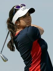 Gerina Piller of the United States hits her tee shot on the 16th hole during a practice round for the women's golf event Tuesday at the 2016 Summer Olympics in Rio de Janeiro.