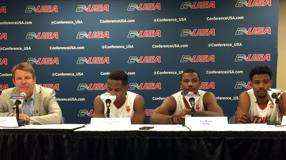 UTEP head coach Tim Floyd is joined by Dominic Artis, Lee Moore and Earvin Morris during the post-game press conference, the Miners defeated FIU 85-77 and will play Marshall tonight.