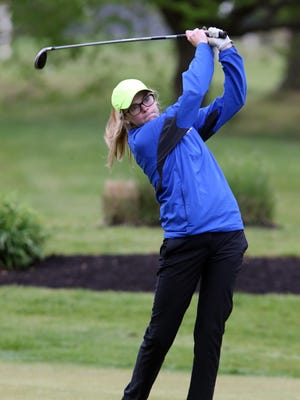 Sayreville's Erin McQuade tees off at the first tee during the Greater Middlesex Conference girls golf tournament on Thursday.