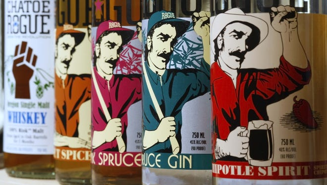 A line up of spirits produced by Rogue Breweries distilling division in Newport.