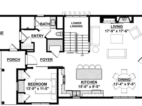 The lower level of this relaxed plan can be finished