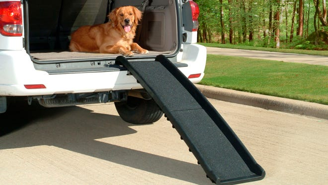 Folding steps like these help ease the transport of elderly pets and can be conveniently stored at home or in your vehicle.