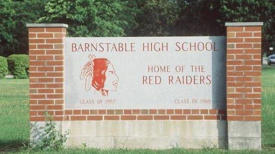 A sign at Barnstable High School displayed the Red Raider  logo.