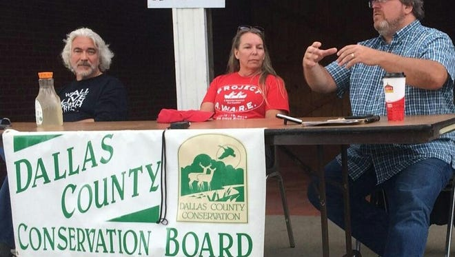 Bill Stowe, left, Mary Skopec and Roger Wolf discuss water quality issues on a panel Aug. 20 in Redfield.