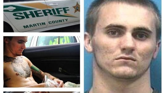 Photos of Taylor Harrison, 21, posted on teh Martin County Sheriff's Office Facebook page showing his booking photo along with photos of drug dealing allegedly posted by Harrison.