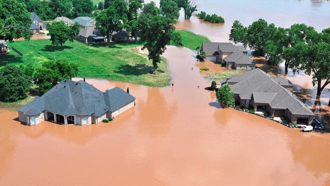 Houses in the River Bluff subdivision in Bossier Parish have been inundated by the rising Red River.