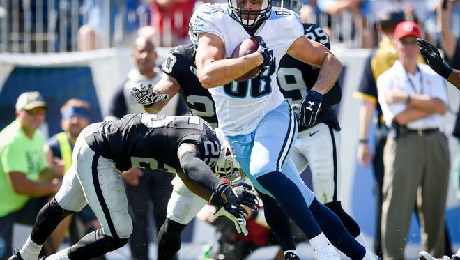 Tennessee Titans tight end Jace Amaro (88) breaks through the Oakland Raiders defense during the second half of an NFL football game at Nissan Stadium, Sunday, Sept. 25, 2016, in Nashville, Tenn.