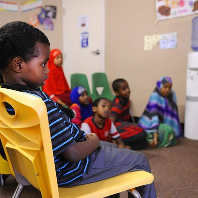 Kids play in a classroom on Friday at Hashiro Child Care.