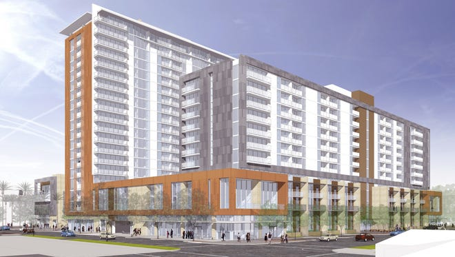 Construction has begun on a two-tower apartment project (seen in a rendering) next to ASU in Tempe.