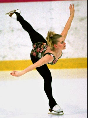 FILE--Figure skater Tonya Harding, who hit Oregon, U.S. and international headlines hard by her involvement in the assault on fellow figure skater Nancy Kerrigan, practices in Portland, Ore., in this Feb. 18, 1994, photo. Harding, who plans to resume her skating career as a professional next month, wants the U.S. Figure Skating Association to rescind her lifetime ban and if they won't she is prepared to jump to another country, possibly Norway or even Bolivia, for the chance to skate in next year's Winter Olympics in Nagano, Japan. (AP Photo/Jack Smith, file)