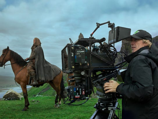 Director Michael Bay on the set of 'Transformers: The