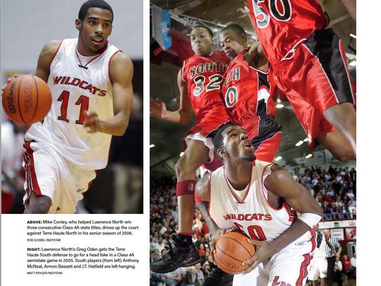 A page of the book starring Lawrence North's Mike Conley and Gregg Oden.