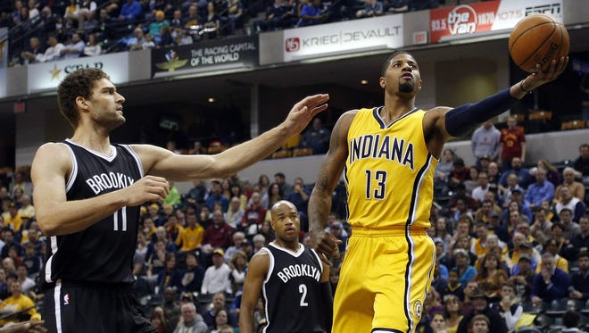 Paul George scored 23 points and grabbed 10 rebounds for the Pacers against the Brooklyn Nets at Bankers Life Fieldhouse.