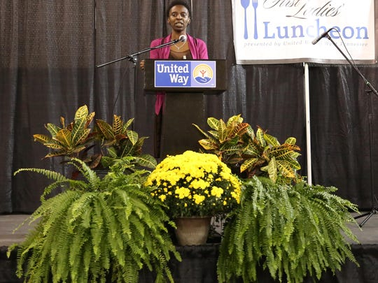 Jeri Traylor, of the Salvation Army, spoke to guests attending the third annual First Ladies Luncheon about her journey to become a first lady. Jeri received a full scholarship to the University of Memphis at Lambuth.