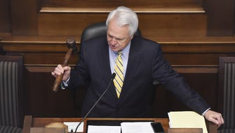 Lt. Governor Ron Ramsey R-Blountville swings the gavel for one of the last times as legislators conduct business in the final days of the 2016 legislative session.  Tuesday April 19, 2016, in Nashville, TN
