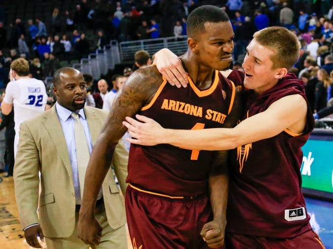 Arizona State's Gerry Blakes (4) and Austin Witherill,
