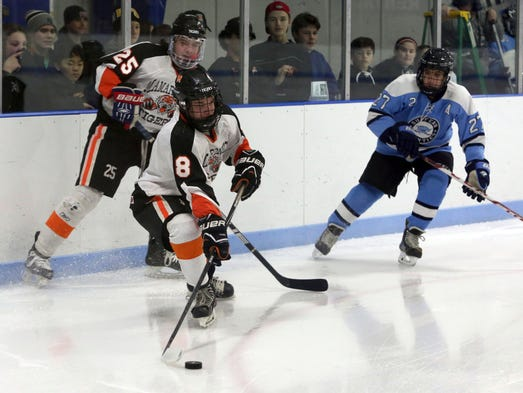 Mamaroneck's Connor Le Blanc moves the puck in front