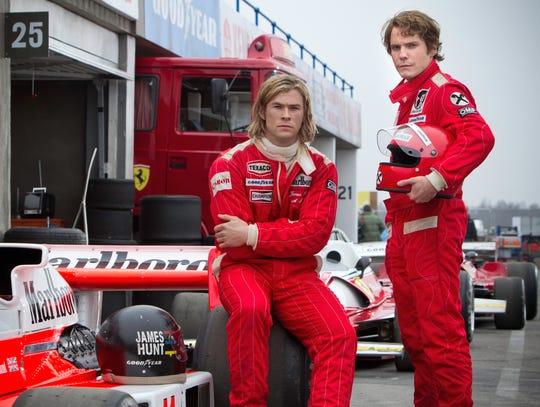 """Chris Hemsworth and Daniel Bruhl play Formula 1 drivers James Hunt and Niki Lauda in """"Rush."""""""