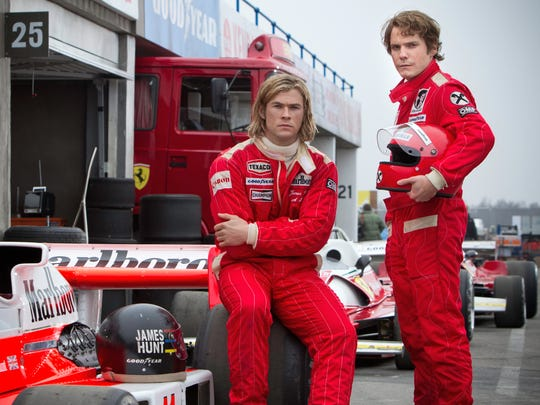 "Chris Hemsworth and Daniel Bruhl play Formula 1 drivers James Hunt and Niki Lauda in ""Rush."""
