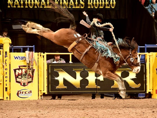 Milford's Ryder Wright won five of 10 rounds in saddle bronc riding at the 2016 Wrangler National Finals Rodeo in Las Vegas.
