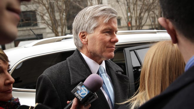Former Virginia Gov. Bob McDonnell arrives at U.S. District Court for the Eastern District of Virginia for his corruption trial sentencing in January in Richmond, Virginia.
