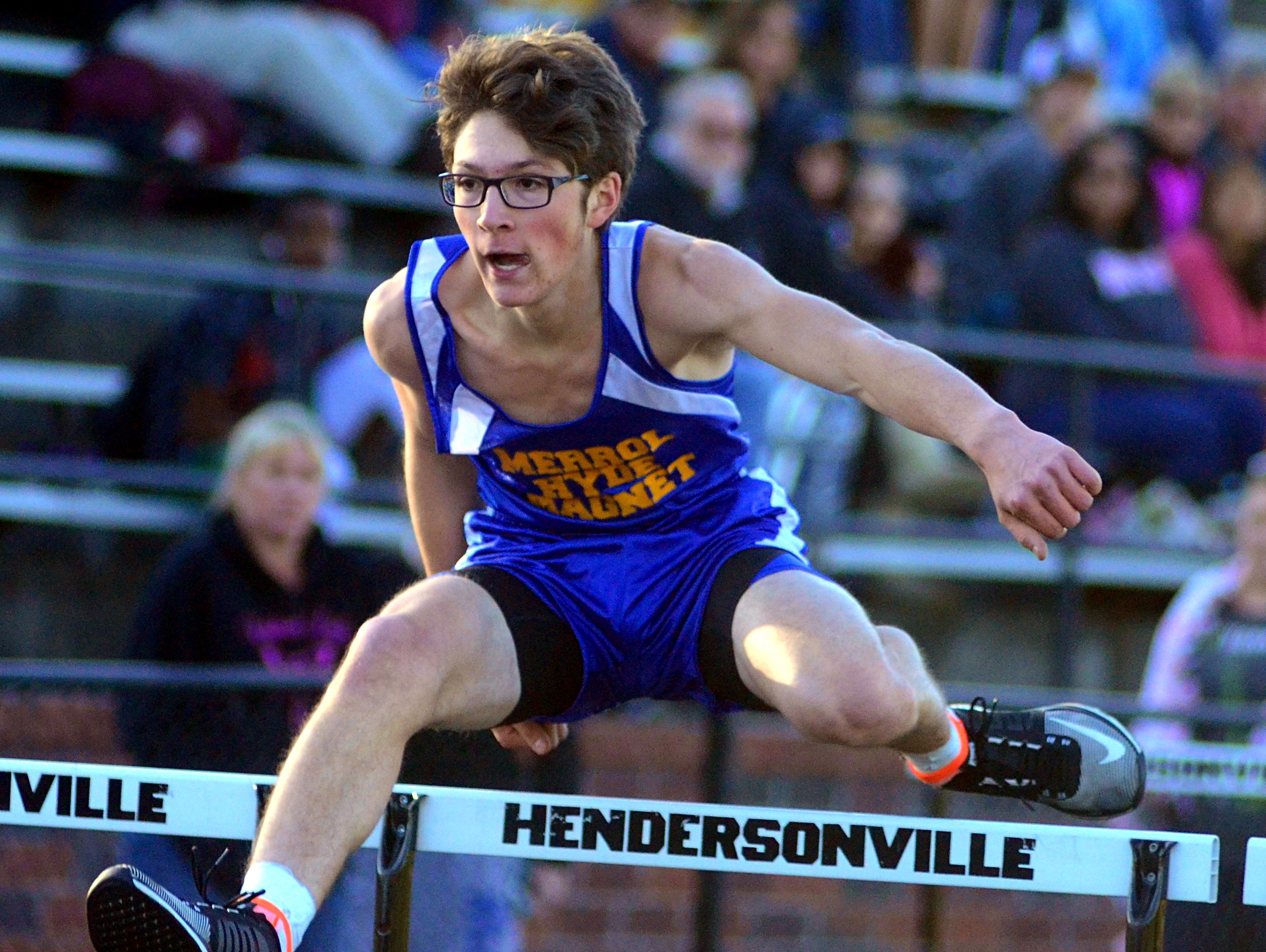Merrol Hyde Magnet senior Carter Davidson posted the fastest qualifying time in the boys 110-meter hurdles.