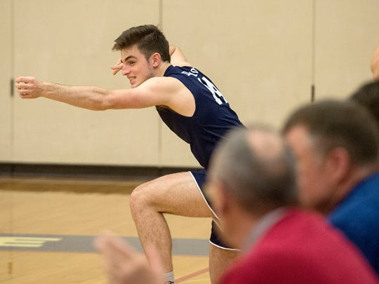 Dallastown's Isaac Horning reacts after the Wildcats tied the score at 28-28 in the second game against Spring Grove, Thursday, April 6, 2017.