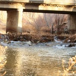 The East Walker River flows lower than usual under the Nevada 208 bridge shortly before it joins the West Walker in south Mason Valley on a warm, dry Sunday afternoon.