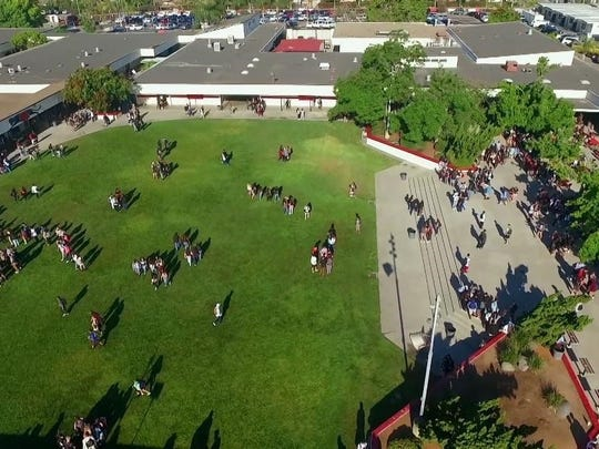 An aerial look at Vista High School's campus.