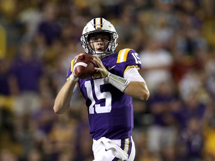 Myles Brennan of the LSU Tigers throws a pass against