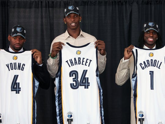 Memphis Grizzlies draft picks, from left, Sam Young,