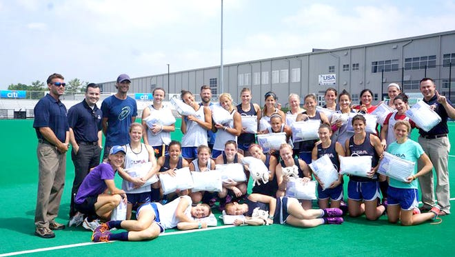 The U.S. Women's Field Hockey Team will be traveling more comfortably when they head to Rio de Janeiro for the 2016 Summer Olympics, thanks to Martin Furniture and Mattress and Serta, who donated pillows and the famous Serta sheep stuffed animals.