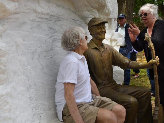 Pete Seeger: Statue unveiled in Puffin Sculpture Garden