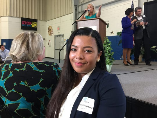 America Gutierrez, winner of the Youth of the Year award, spoke at the Boys & Girls Club of Collier County Great Futures Breakfast on Oct. 13, 2016. She recalled that the club helped her through some difficult times, including her parents' divorce.