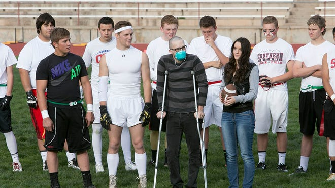 Cedar High School held their Tackle Cancer for Derek Hoyt with a flag football game to join the community together to help with Derek's treatments, at Cedar High football field Monday. May 11, 2015
