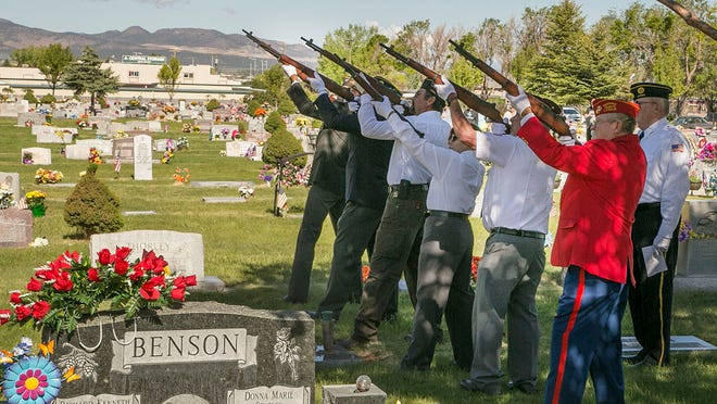 Cedar City Memorial Day Celebration with veterans line up to shoot three rounds off at Cedar City Cemetery on May 25, 2015