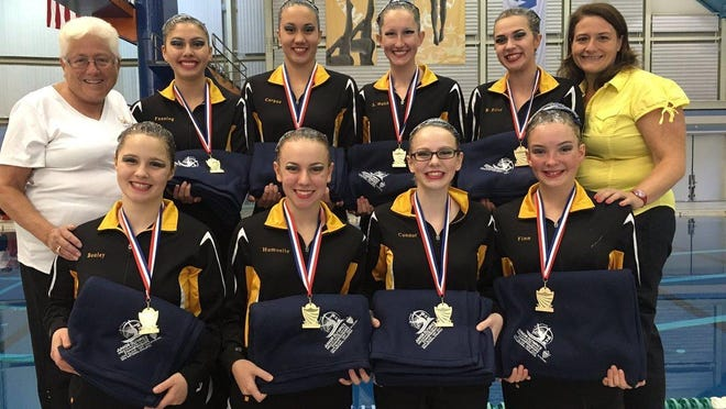 The Cincinnati YMCA Synchrogaters won their first national championship since 2012 in early July. In front, from left are Anne Bouley, Rose Homelle, Keely Connor and Mackenzie Finn. In the back row is coach Ginny Jasontek, Erin Fanning, Abby Corpuz, Sarah Walsh, Blue Edler and Julie Jasontek.
