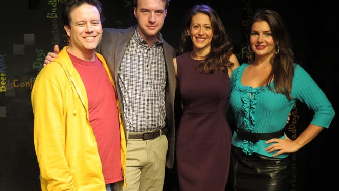 """Jared Michael Delaney (left to right), Graham Techler, Alex Trow and Brittany Proia in """"Mad Love."""""""