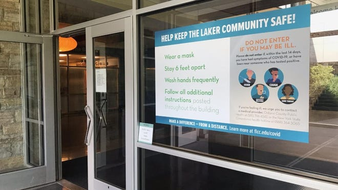 A sign at the main entrance to Finger Lakes Community College is one of the many changes implemented to help prevent a possible outbreak of COVID-19. Before any visitor, employee or student can enter the building, they must first complete a daily health screening through a free app called CampusClear, created through a partnership between private entities along with Creighton and Stony Brook University.