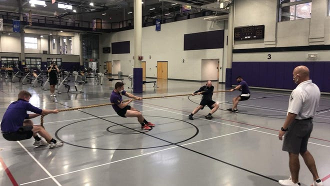 (Left to right) Bridges and Deffenbaugh take on their fellow ROTC students Hanrahan and Rude in the championship matchup.